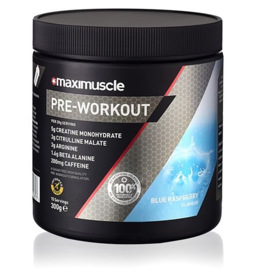 MaxiMuscle Pre-Workout Powder Blue Raspberry - 300g