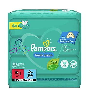 Pampers Fresh Clean Baby Wipes 4 Packs = 208 Wipes