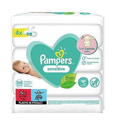 Sensitive Baby Wipes 4 Packs = 208 Wipes