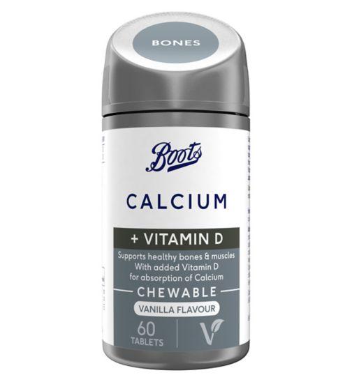 Boots Chewable Calcium + Vitamin D Vanilla 60 Tablets