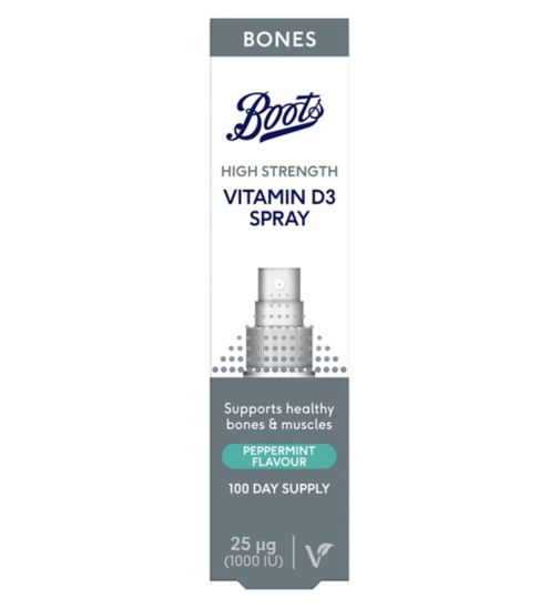 Boots Vitamin D3 25ug Peppermint Spray 15ml (100 day supply)