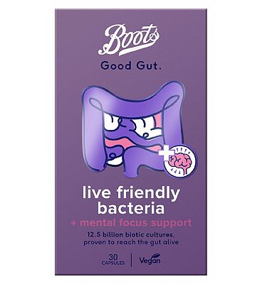 Image of Boots Good Gut Live Friendly Bacteria + Mental Focus Support 30 Capsules