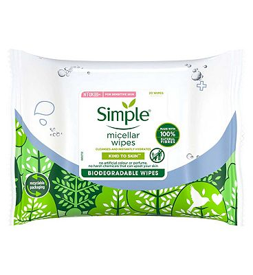 Simple Biodegradable Micellar Cleansing Wipes