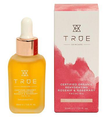 TRUE Skincare Certified Organic Rehydrating Rosehip & Rosemary Facial Oil 30ml