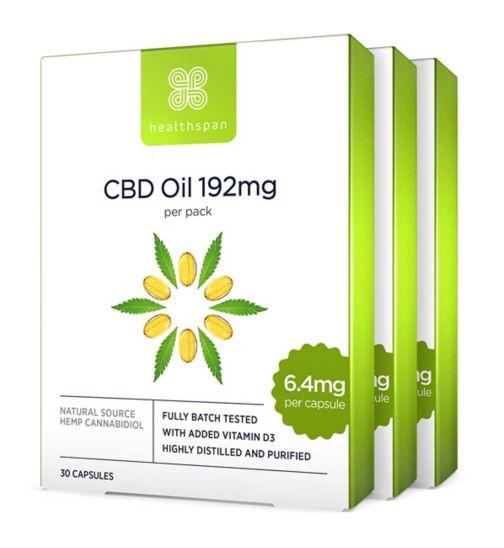 Healthspan High Strength CBD Oil 192mg - 30 Capsules;Healthspan High Strength CBD Oil 192mg - 30 Capsules;Healthspan High Strength CBD Oil 192mg 30s x 3 Bundle