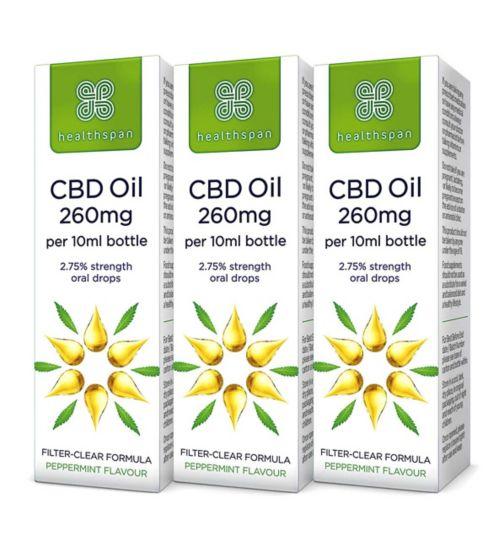 Healthspan High Strength CBD Oil 250mg Drops 10ml x 3 Bundle;Healthspan High Strength CBD Oil 250mg Drops 2.75% - 10ml;Healthspan High Strength CBD Oil 250mg Drops 2.75% - 10ml