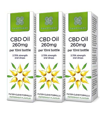 Healthspan High Strength CBD Oil 250mg Drops 10ml x 3 Bundle