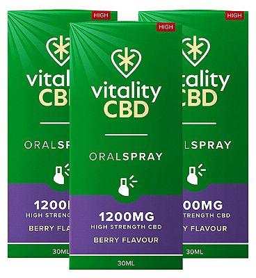 Vitality CBD 1200mg Berry Flavour Oral Spray 30ml x 3 Bundle