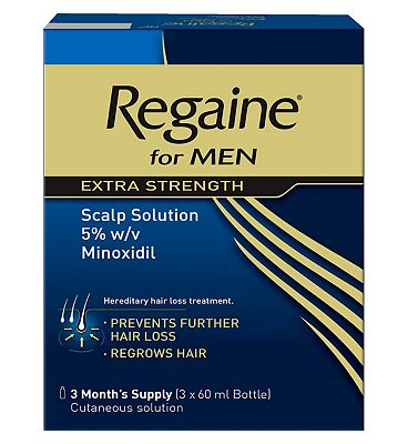 Regaine For Men Extra Strength Scalp Solution 5% w/v Minoxidil - 3 Months Supply