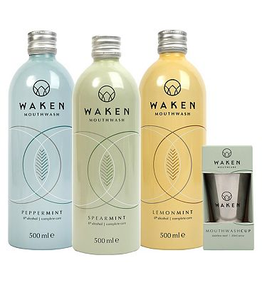Waken Mouthwash Bestsellers Bundle with Reusable Cup