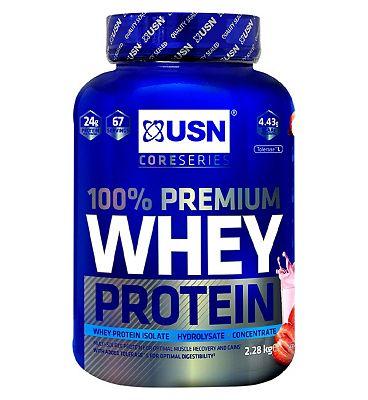 USN 100% Premium Whey Protein Powder Strawberry - 2.28kg