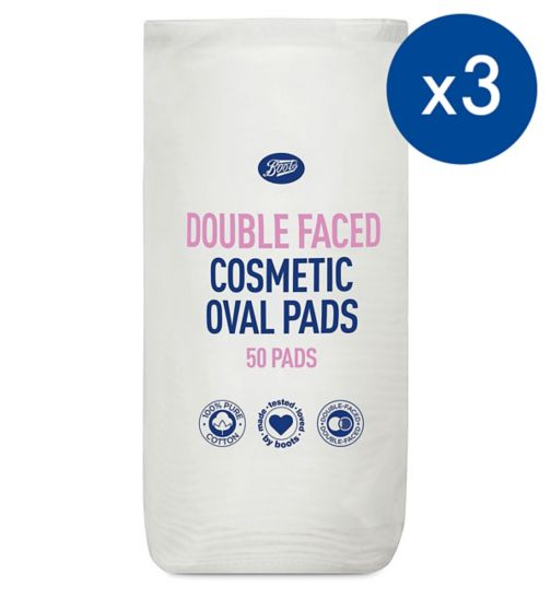 Boots Dfaced oval pads 50s;Boots double faced oval cotton wool pads 50 pack;Pack of 3 Boots double faced oval cotton wool pads 50
