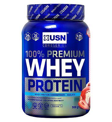 USN 100% Premium Whey Protein Powder Strawberry - 908g