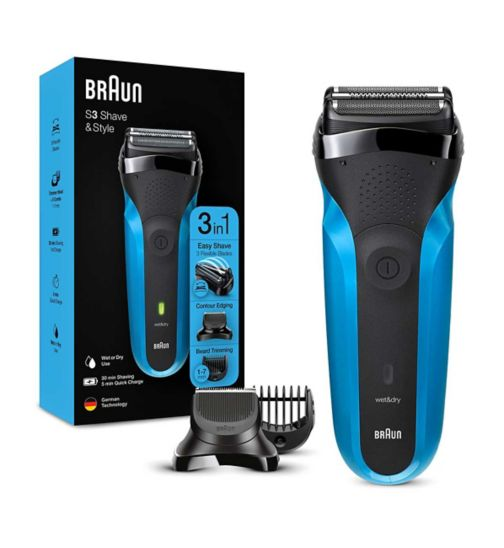 Braun Series 3 Shave&Style 310BT Electric Shaver, Wet & Dry Razor for Men, Black/Blue