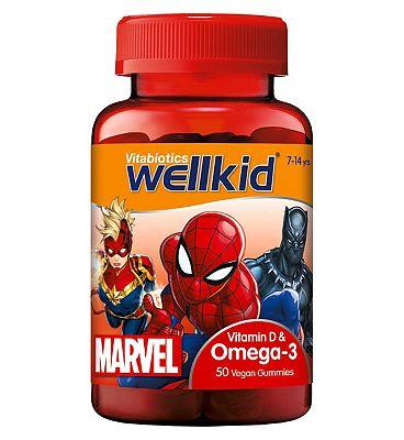 Vitabiotics WellKid Marvel Vitamin D & Omega-3 50 Vegan Soft Jellies