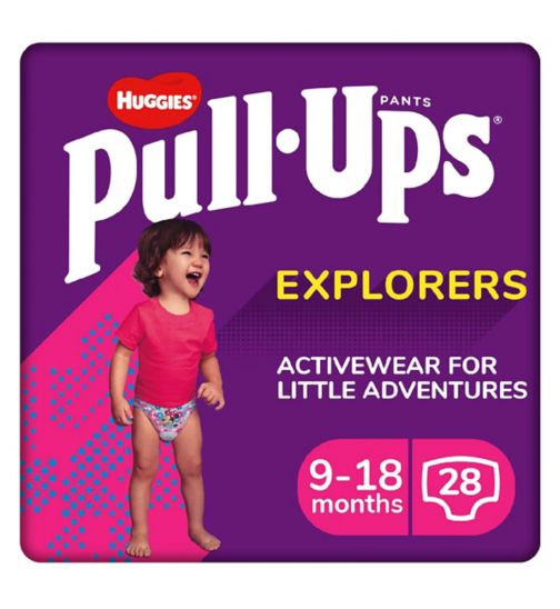 Huggies Pull-Ups Explorers, Girl, Size 9-18 Months, Nappy Size 3-4, 28 BIG KID pants