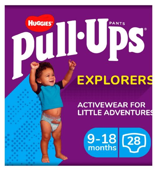 Huggies Pull-Ups Explorers, Boy, Size 9-18 Months, Nappy Size 3-4, 28 BIG KID pants