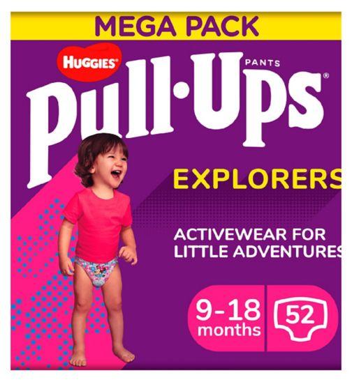 Huggies Pull-Ups Explorers, Girl, Size 9-18 Months, Nappy Size 3-4, MEGA Pack, 26 BIG KID Pants