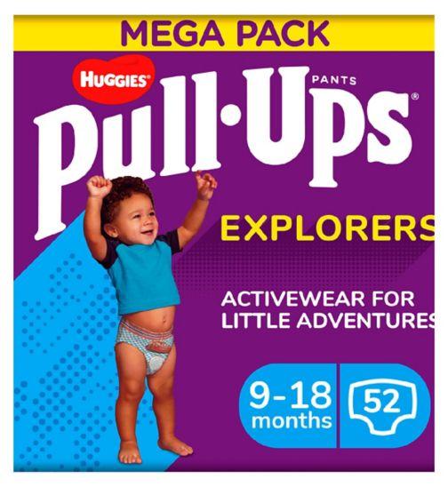 Huggies Pull-Ups Explorers, Boy, Size 9-18 Months, Nappy Size 3-4, MEGA Pack, 26 BIG KID Pants