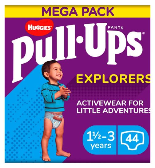 Huggies Pull-Ups Explorers, Boy, Size 1.5-3 Years, Nappy Size 4-5+, MEGA Pack, 22 BIG KID Pants