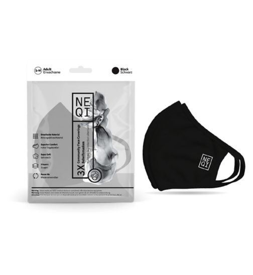 NEQI 3PLY Reusable Face Masks - 3 Pack (Adult S/M - Black)