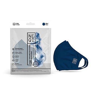 NEQI Reusable Face Masks - 3 Pack (Kids 6-10 - Blue)