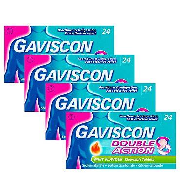 Gaviscon Bundle: 4 x 24 Gaviscon Double Action Mint Flavour Chewable Tablets