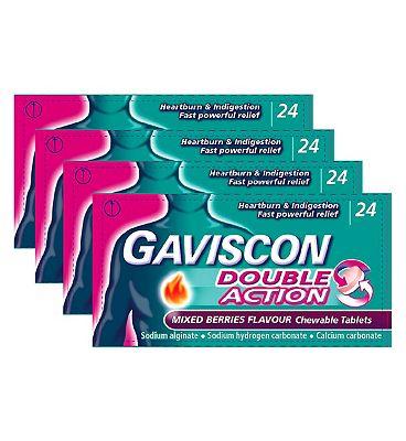 Gaviscon Bundle: 4 x 24 Gaviscon Double Action Mixed Berries Chewable Tablets