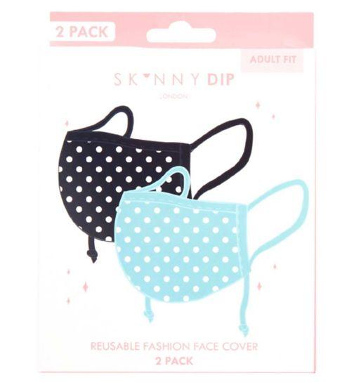 Skinnydip Polka Dot Print Reusable Face Coverings - 2 Pack