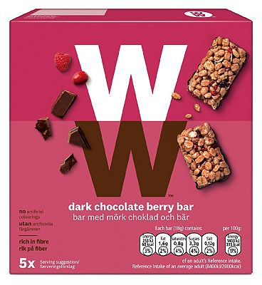 WW Dark Chocolate Berry Bar 18g x 5pk - 90g