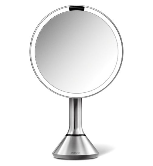 simplehuman sensor mirror with touch-control brightness, 5x magnification, brushed stainless steel
