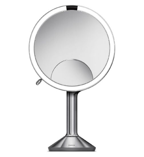 simplehuman sensor mirror trio, 1x 5x and 10x magnification, brushed stainless steel