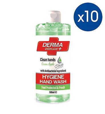 Image of 10 Pack of Mellor & Russell Derma Intensive + Hygiene Hand Wash - Apple 500ml