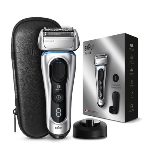 Braun Series 8 8359PS Next Generation Electric Shaver, Charging Stand, Leather Case, Silver