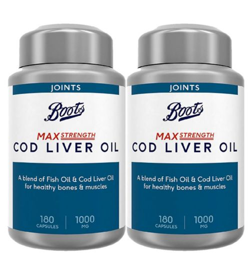 Boots Max Strength CLO 1000mg 180s;Boots Max Strength Cod Liver Oil 1000mg 180 Capsules (6 month supply);Boots Max Strength Cod Liver Oil 1000mg Bundle: 2 x 180 Capsules (1 year supply)