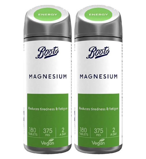 Boots Magnesium 375 mg - 180 Tablets - 3 month supply;Boots Magnesium 375 mg 180 Tablets (3 month supply);Boots Magnesium 375 mg Bundle: 2 x 180 Tablets (6 month supply)