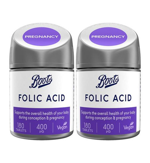 Boots Folic Acid 180 Tablets (6 months supply);Boots Folic Acid Bundle: 2 x 180 Tablets (1 year supply);Boots folic acid 180s