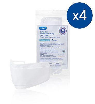 Alvita Adult Reusable Barrier Mask Bundle - 8 Masks (4 x 2 Packs)
