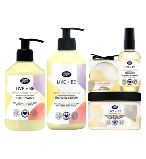 Boots Awakening Glow hand wash;Boots Live + Be Awakening Glow Bath Bomb;Boots Live + Be Awakening Glow Body Mist;Boots Live + Be Awakening Glow Body Souffle;Boots Live + Be Awakening Glow Hand Wash;Boots Live + Be Awakening Glow Shower Cream;Boots Live + Be Awakening Glow bath fizz;Boots Live + Be Awakening Glow shower cr;Boots Live + Be Awakening Glow whipped b;Boots Live+Be Awakening Glow Bundle;Boots awakening glow body mist 100ml