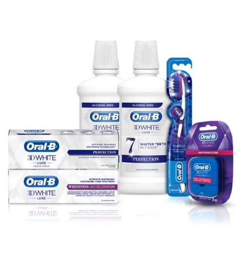 Oral B 3D White Luxe Perfection Mouthwash 500ml;Oral B 3D White Luxe Perfection Mouthwash 500ml;Oral B 3D White Luxe Whitening Accelerator - 75ml;Oral B 3D White Luxe Whitening Accelerator - 75ml;Oral-B 2 Month Whitening Bundle;Oral-B 3D White Luxe Perfection Whitening Toothpaste 75ml;Oral-B 3D White Luxe Perfection Whitening Toothpaste 75ml;Oral-B 3DWhite Luxe Floss 35m - Radiant Mint;Oral-B 3DWhite Luxe Floss 35m - Radiant Mint;Oral-B Manual Toothbrush 3DWhite Luxe Pro Flex Medium;Oral-B Manual Toothbrush 3DWhite Luxe Pro Flex Medium