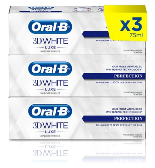 Oral-B 3D White Luxe Perfection 3 Month Toothpaste Bundle;Oral-B 3D White Luxe Perfection Whitening Toothpaste 75ml;Oral-B 3D White Luxe Perfection Whitening Toothpaste 75ml