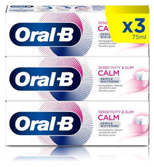 Oral-B Sensitivity & Gum Calm 3 Month Toothpaste Bundle - Gentle White;Oral-B Sensitivity & Gum Calm Gentle Whitening Toothpaste 75 ml;Oral-B Sensitivity & Gum Calm Gentle Whitening Toothpaste 75 ml