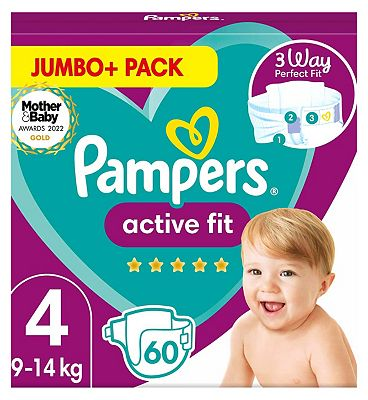 Active Fit Size 4, 60 Nappies, 9kg-14kg, Jumbo+ Pack