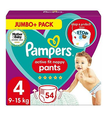 Active Fit Nappy Pants Size 4, 54 Nappies, 9kg-15kg, Jumbo+ Pack