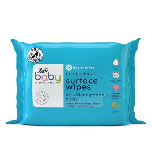 Boots Baby Anti-Bacterial Wipes with biodegradable fibres 30 pack