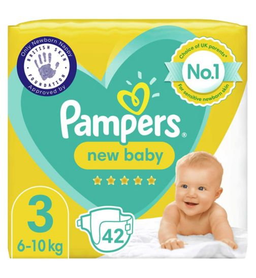 Pampers New Baby Size 3, 42 Nappies, 6kg-10kg, Essential Pack