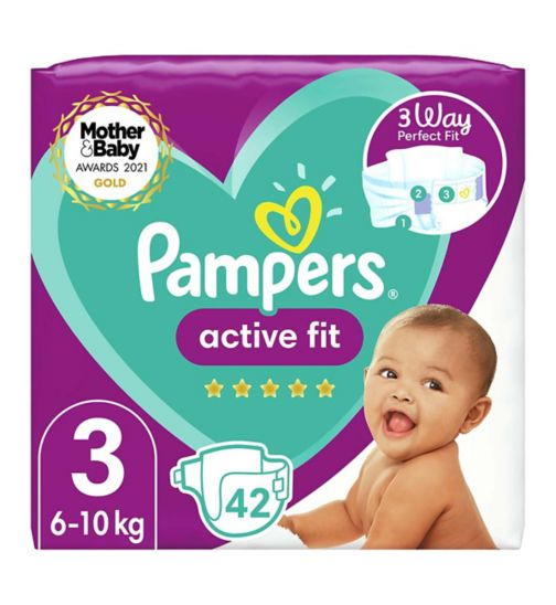 Pampers Active Fit Size 3, 42 Nappies, 6kg-10kg, Essential Pack