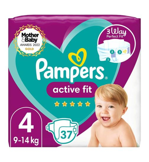 Pampers Active Fit Size 4, 37 Nappies, 9kg-14kg, Essential Pack