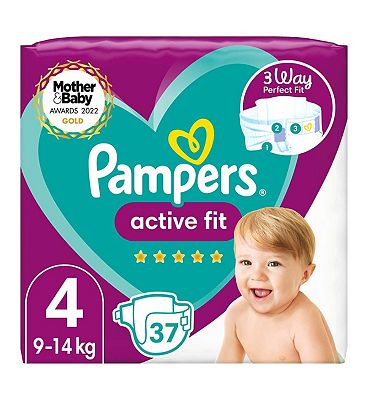 Active Fit Size 4, 37 Nappies, 9kg-14kg, Essential Pack