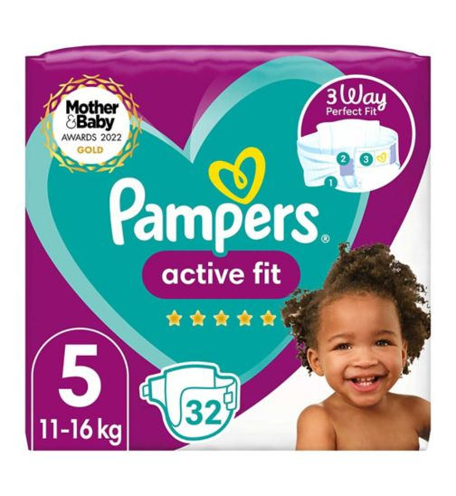 Pampers Active Fit Size 5, 32 Nappies, 11kg-16kg, Essential Pack